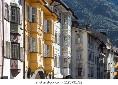 Typical romatic housing facades in Bozen, Northern Italy