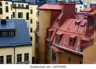 typical roofs and windows of Stockholm, Sweden