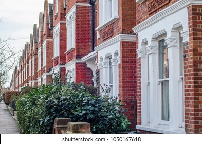 Typical row of terraced brick houses in south west London