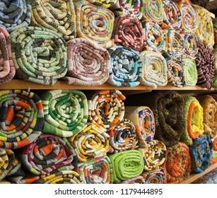 Typical rugs on display in a shop in Nijar, Almeria, Spain.
