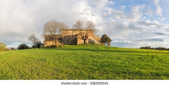 Typical Rural House in Catalonia in the Springtime