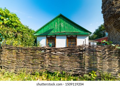 Typical rural Russian landscape with a view of the Cossack house