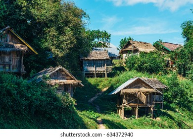 Typical rural wooden houses in right near the main road of Laos,Oudomxay province