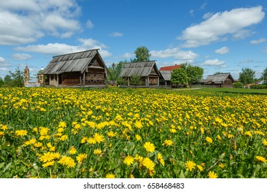 Typical Russian rural landscape with old wooden houses in Suzdal