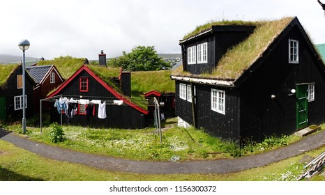 Typical Scandinavian grass roof architecture in everyday use on Faroe islands