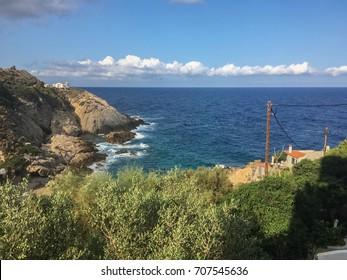 Typical seascape of the Greek island, Ikaria, Eastern Aegean Sea.