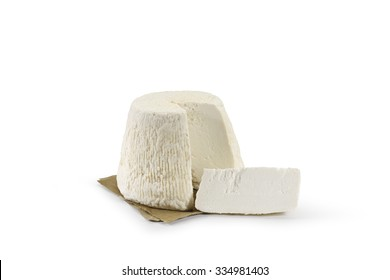 Typical Sicilian salted ricotta cheese On white background