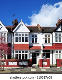 Typical small Edwardian period townhouses built around 1913 on the Crabtree Estate at Hammersmith, west London.