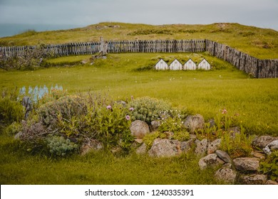 Typical small Icelandic houses or cabins with made miniature  on summer overcast day, exterior.
