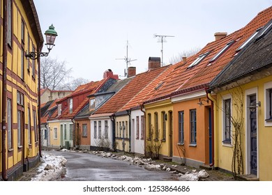 A typical small street in the Swedish city of Ystad, in the region of Skane (Schonen). You can still see the medieval structure of the city.