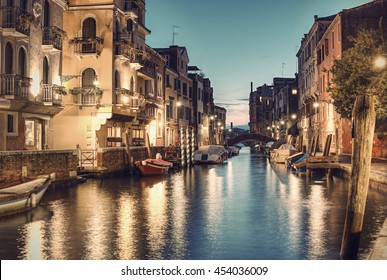 Typical small Venetian Canal Rio de San Vio at evening, Venice (Venezia), Italy, Europe, Vintage fitlered style