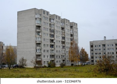 Typical socialist block of flats in Lithuania, Alytus. East Europe.