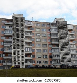 Typical Soviet union block buildings in Alytus, Lithuania.