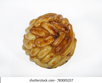 "Typical Spanish pastry ""panellets"" in Catalonia at All Saint's Day. Isolated background on white"