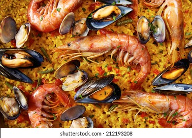 Typical spanish seafood paella close-up