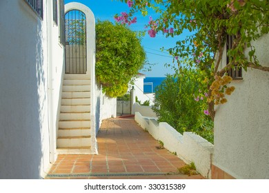 Typical spanish village view with stairs, Nerja.