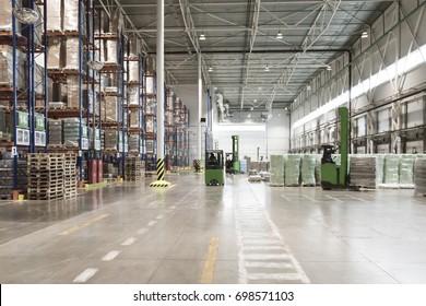 Typical storage, warehouse interior. Selective focus.