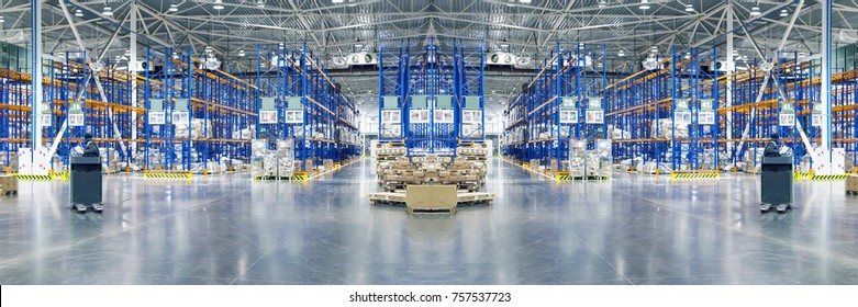 Typical storage, warehouse interior. Selective focus. Toned collage. Background. Copy space.