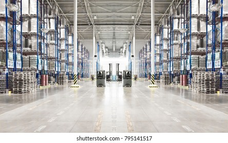 Typical storage, warehouse interior. Toned image. Selective focus. Horizontal banner.