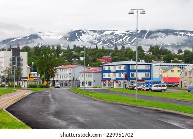 Typical street of Akureyri downtown, Iceland