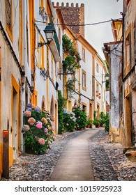 A typical street in Alentejo's villages. Castelo de Vide, Portugal.