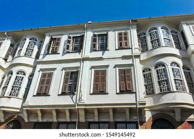 Typical street and building at Ano Poli (Upper Town) in city of Thessaloniki, Central Macedonia, Greece