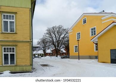 Typical street in city Viljandi Estonia in winter time