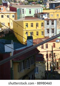 Typical street and color houses and buildings of Valparaiso, Chile