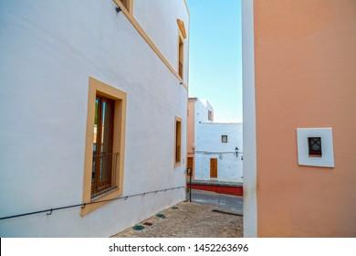 Typical street in Eivissa, Balearic Islands. Spain.