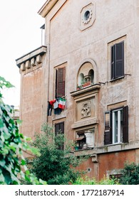 A typical street in the Garbatella neighbourhood of Rome, Italy