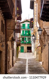 Typical street in Hondarribia, in the Basque Country