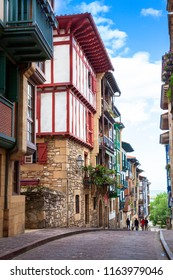 Typical street in Hondarribia, Spain