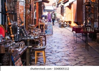 Typical street market in Sarajevo, Bosnia and Herzegovina
