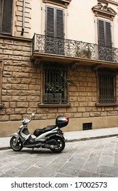 Typical street of old european town (Florence, Italy)