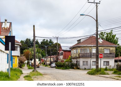 Typical street in residence area of Valdivia, Chile