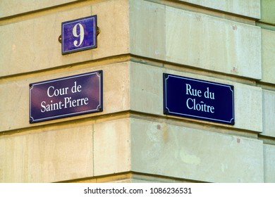 Typical street signs on the walls of the houses of the old city, Geneva, Switzerland