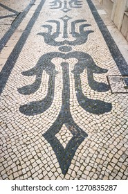 Typical street tiles in Lisbon, the capital of Portugal