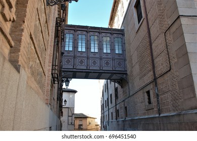 Typical street of Toledo, Spain, famous for the narrowness, which allows that in summer there is much shade to be able to walk,