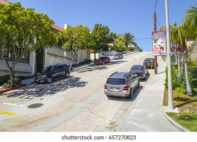Typical street view on the hills of San Diego - SAN DIEGO / CALIFORNIA - APRIL 21, 2017