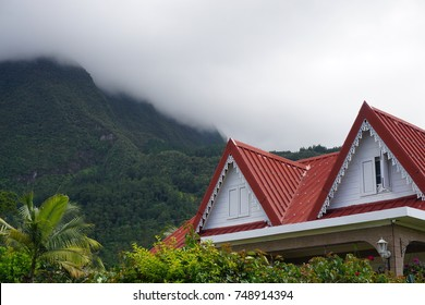 Typical style wood house in the tropical mountains of La Reunion, France