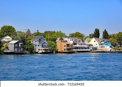 Typical summer cottages along the St. Clair River near Port Huron, Michigan.