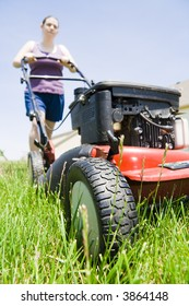 Typical summer pastime - mowing the lawn