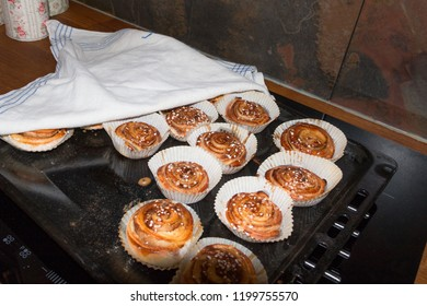 Typical Swedish cinnamon rolls home-baked