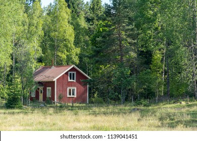 Typical swedish house in the woods