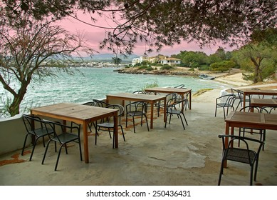 Typical terrace of a bar located in the coast of Porto Colom (Mallorca - Spain)