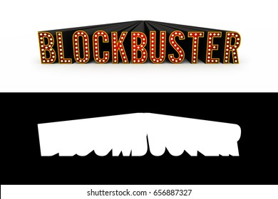 Typical theater style 3D letters spelling the word Blockbuster with alpha map added for quick and easy isolation.