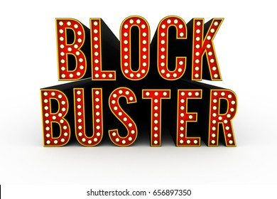 Typical theater style 3D letters spelling the word Blockbuster