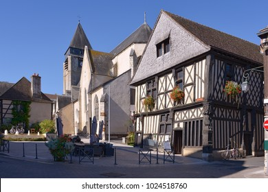 Typical timbered house at Aubigny-sur-Nère, a commune at the boundary of natural regions of Sologne and Pays-Fort, in the former province of Berry, in the Cher department in the Centre region France