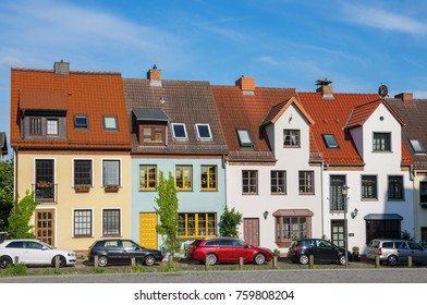 Typical town houses in Rostock. Mecklenburg-Vorpommern, Germany