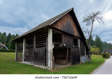Typical traditional Alpine barn shed located in Slovenian touristic village Ribcev laz, next to the Bohinj lake
